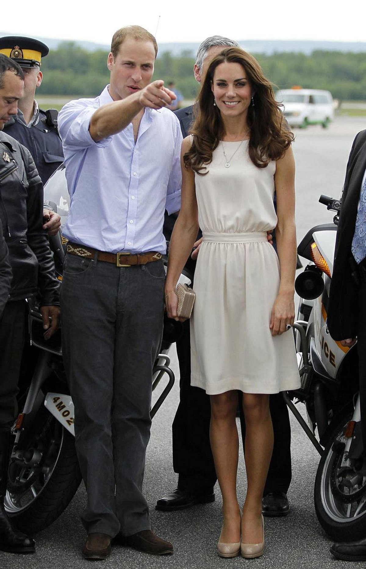 Prince William and his wife Catherine, Duchess of Cambridge, pose for a photo before departing Jean Lesage International Airport in Quebec City July 3, 2011.