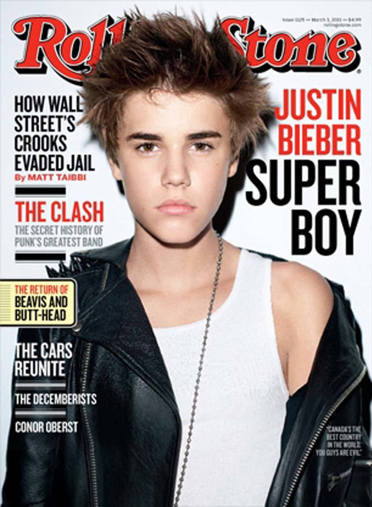 Then he made the March 3rd cover of Rolling Stone magazine, which also came out in early February.
