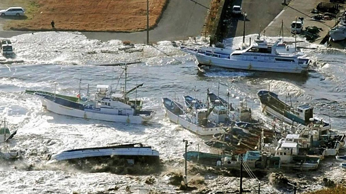 Fishing boats are damaged in Asahi, Chiba prefecture, Japan, after a ferocious tsunami unleashed by Japan's biggest recorded earthquake slammed into its eastern coast on March 11, 2011.