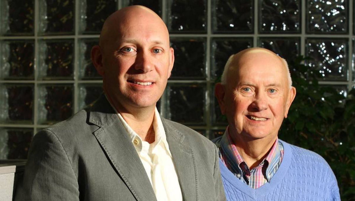 Lee Bragg, left, with his father John at the EastLink head office in Halifax
