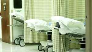 A row of hospital beds.