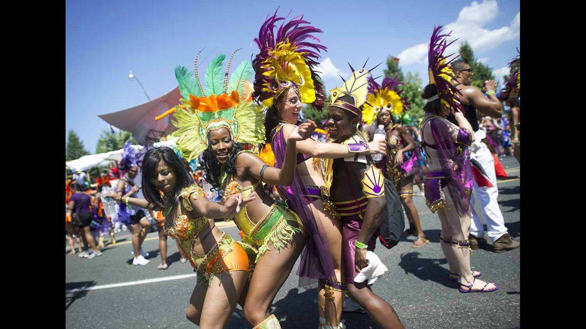 Dancers have fun at the Caribbean Carnival in Toronto.