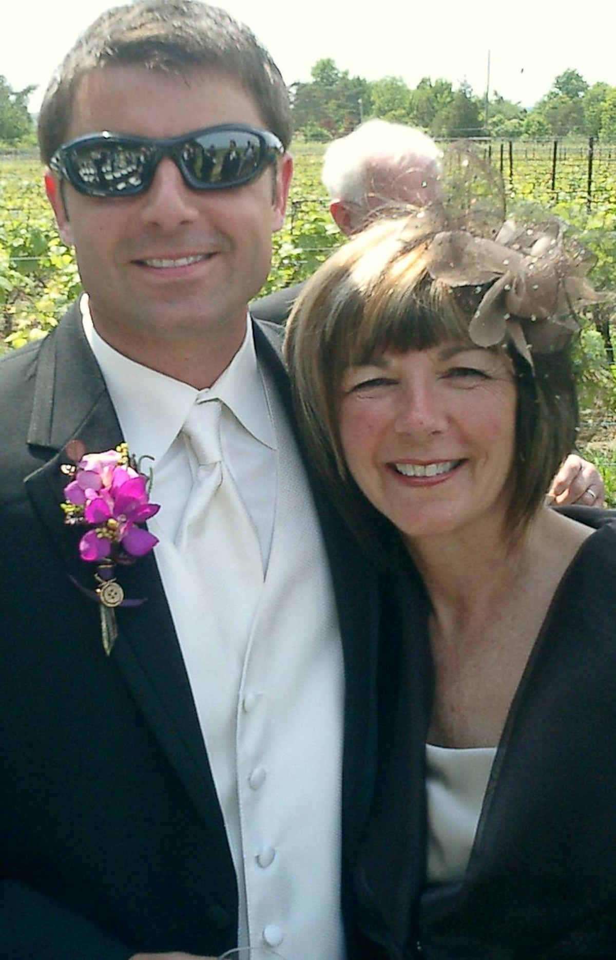 Picture of very proud Mom with my son on his wedding day.