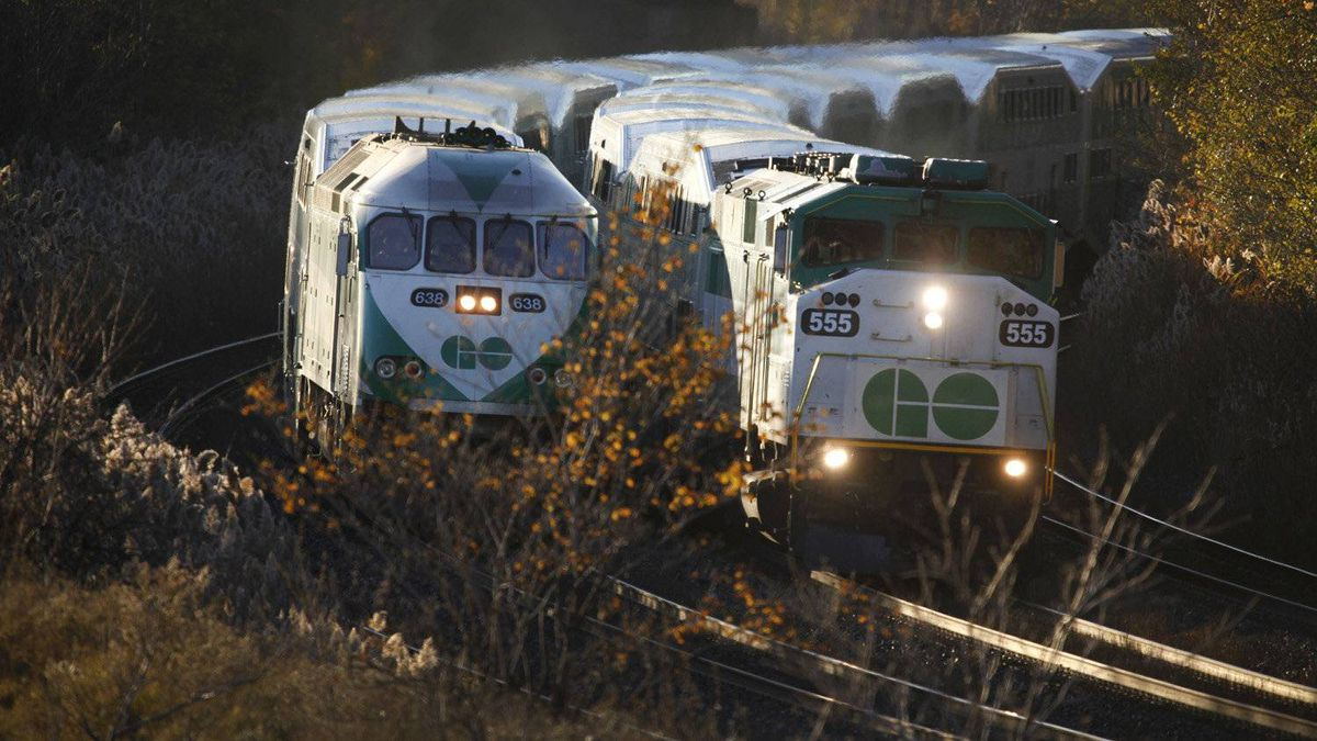 GO trains heading into Toronto Nov 10, 2010.