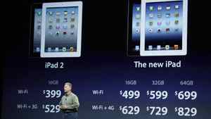 Apple's senior vice president of Worldwide Marketing Phil Schiller talks about new WiFi and 3G pricing for the iPad2, left, and the new iPad, right, during an Apple event in San Francisco, Wednesday, March 7, 2012