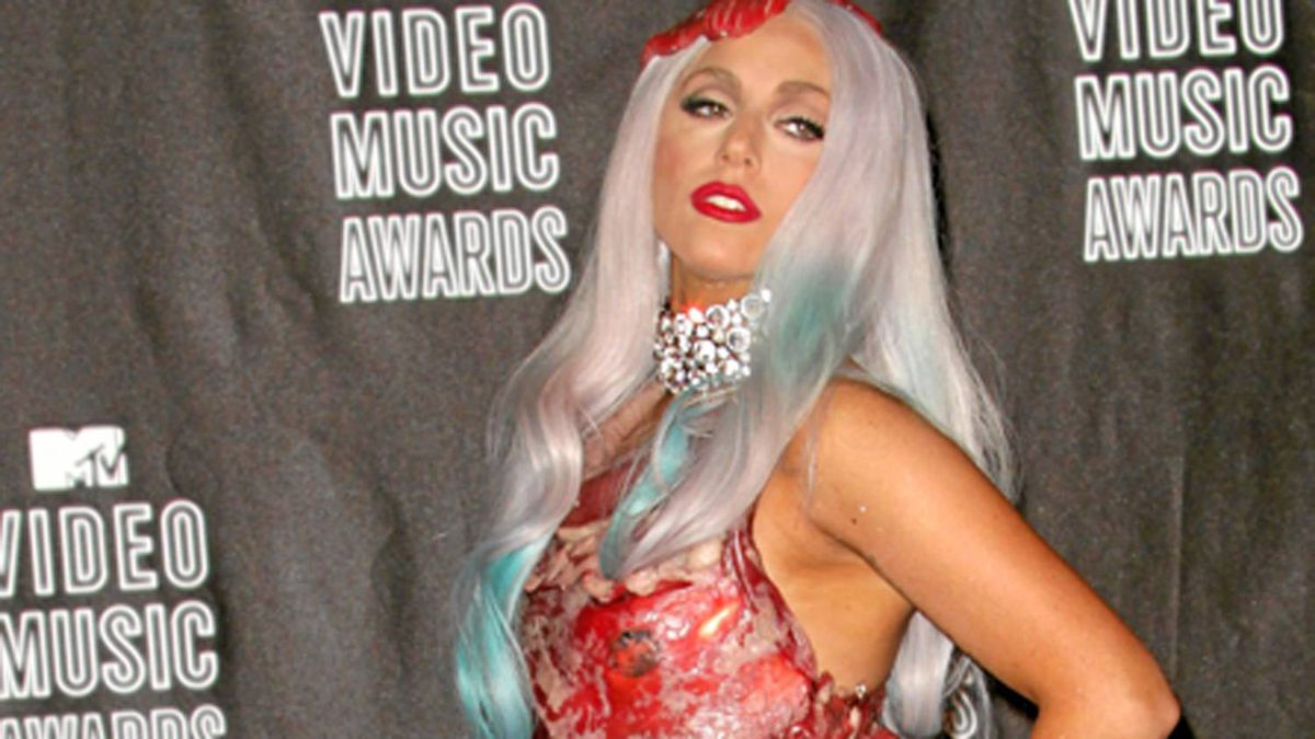 Singer Lady Gaga poses in the press room during the MTV Video Music Awards