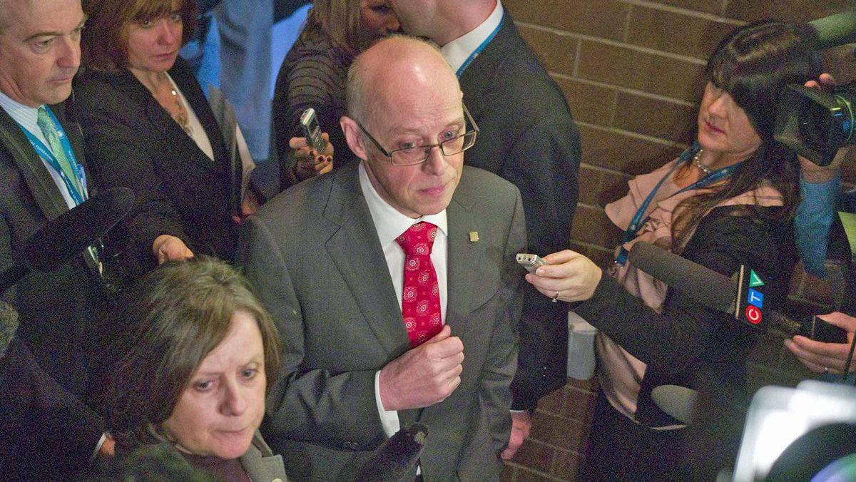 John Haggie, president of the Canadian Medical Association, speaks to reporters during a meeting of provincial premiers on health care in Victoria on Jan. 17, 2012.
