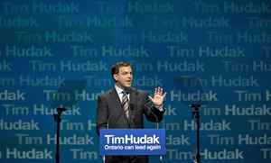 Ontario Progressive Conservative Leader Tim Hudak delivers the keynote address at the party's annual general meeting in Ottawa on March 6, 2010.