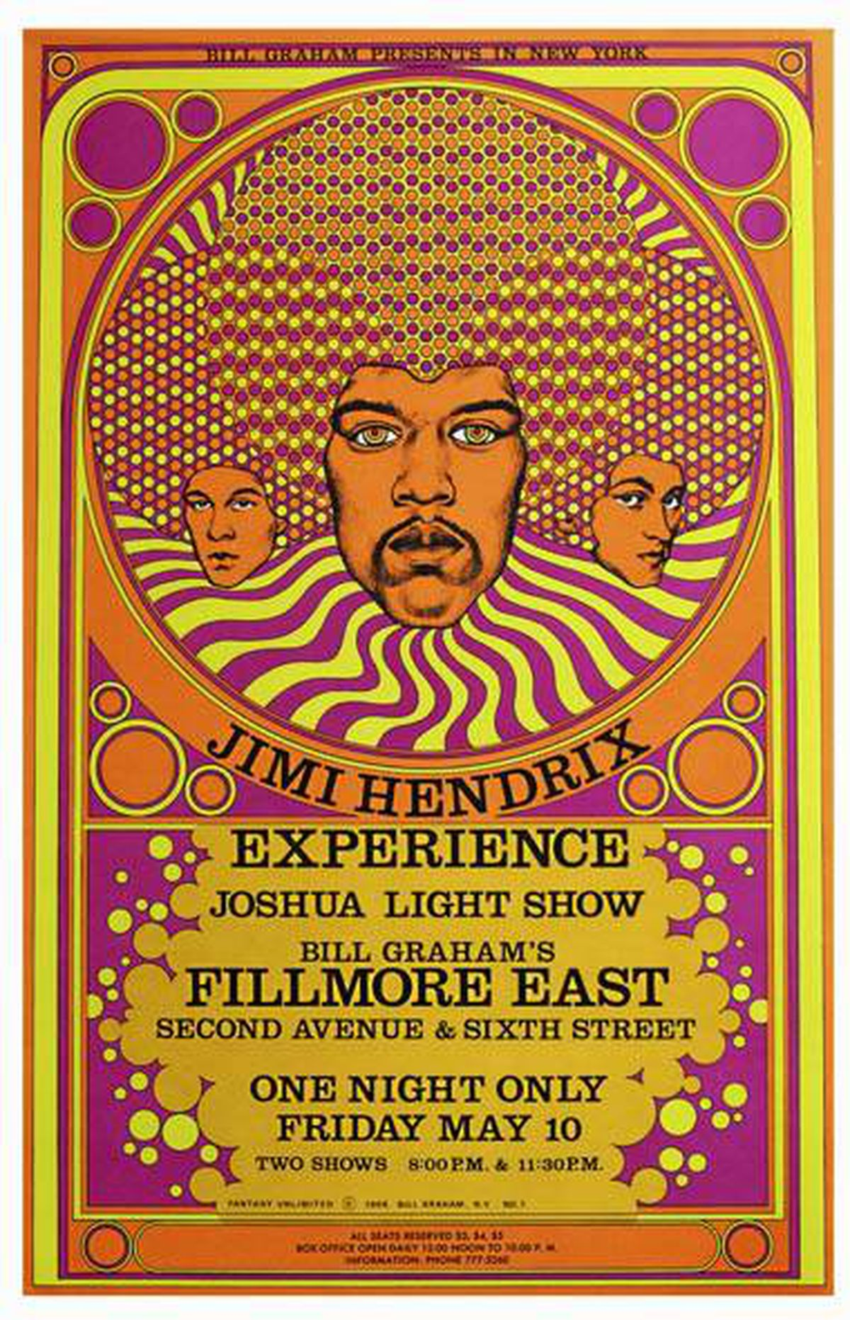 Poster for the Jimi Hendrix Experience at the Fillmore East, New York City, May 10, 1968 by artist David Byrd. Part of a collection of rare and valuable posters gifted to the AGO, photographed on February 18, 2011.