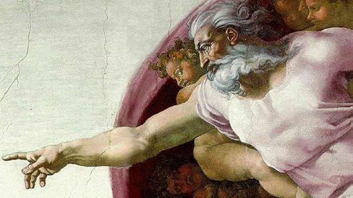 A detail of Michelangelo's The Creation of Adam in the Sistine Chapel.