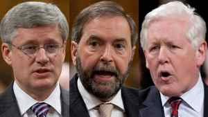 Prime Minister Stephen Harper; NDP Leader Thomas Mulcair and Interim Liberal Leader Bob Rae are shown in a photo combination.