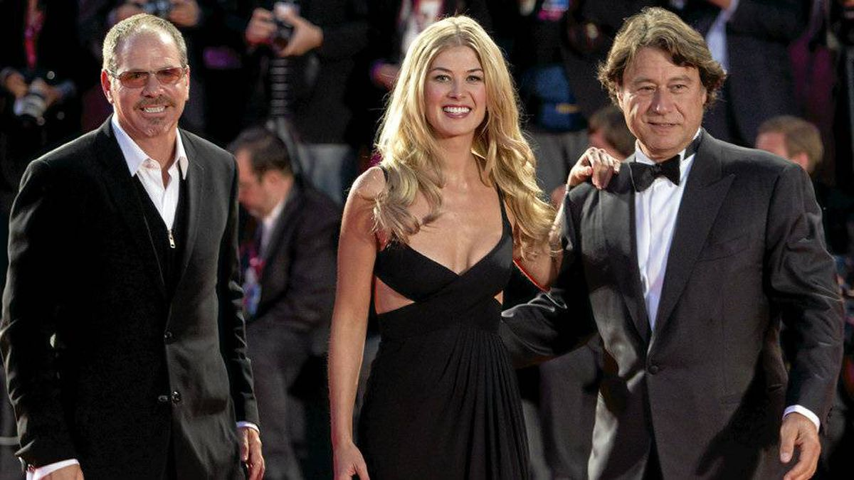 Director Richard J. Lewis, actress Rosamund Pike, and producer Robert Lantos arrive for the screening of the film Barney's Version at the 67th edition of the Venice Film Festival in Venice, Italy, Friday, Sept. 10, 2010.
