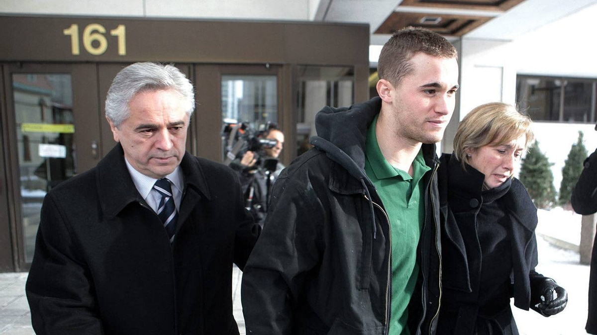 Former Premier of Newfoundland Brian Tobin, left, and wife Jodean Tobin escort their son Jack Tobin out of Ottawa court following his release on bond for $100,000 for being charged in the death of a man in a Christmas Eve accident in Ottawa.