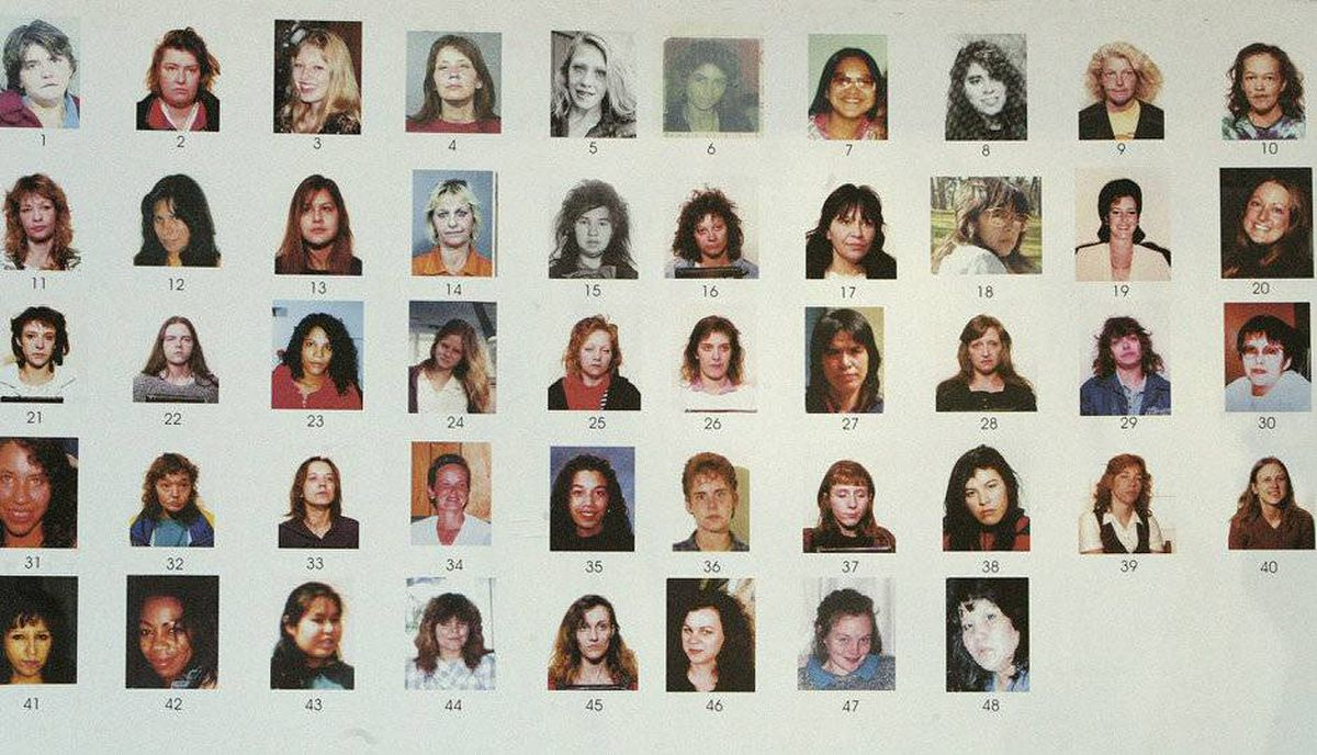 A section of a poster board of 48 missing women shown to Robert Pickton at his trial.