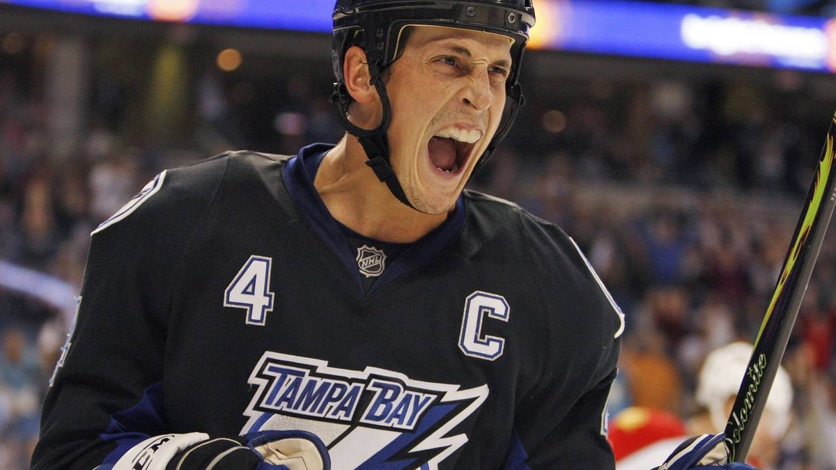 Tampa Bay Lightning's Vincent Lecavalier celebrates after scoring a second-period goal against the Florida Panthers during an NHL hockey game Saturday night, Dec 27, 2008, in Tampa, Fla.