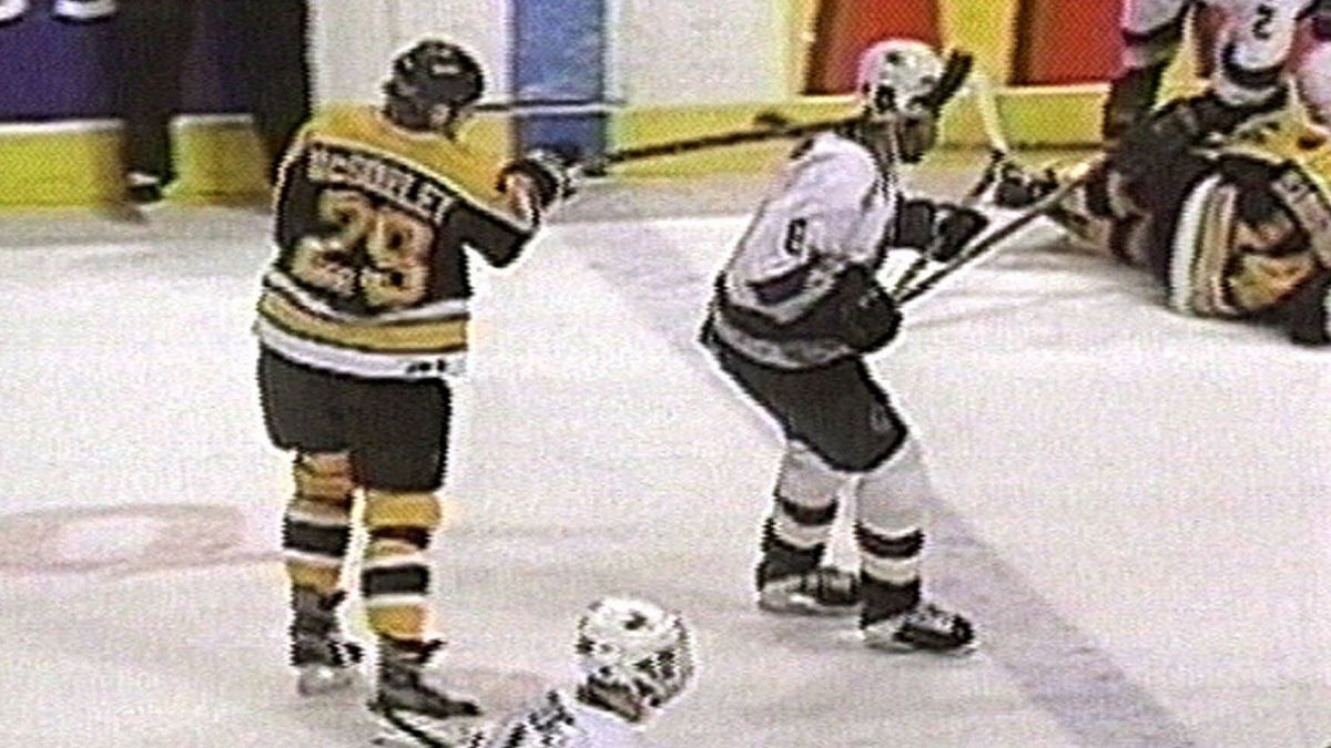 "n this image from television, Marty McSorley of the Boston Bruins hits Vancouver Canuck Donald Brashear with a swinging slash to the right temple on Feb. 21, 2000 in Vancouver. Brashear was twitching on the ice as trainers rushed to his side. He was later diagnosed with a concussion. McSorley later admitted, ""I got no excuse. I got carried away. It was a real dumb play."" McSorley was convicted of assault with a weapon and sentenced to 18 months of probation. He would never play in another NHL game."