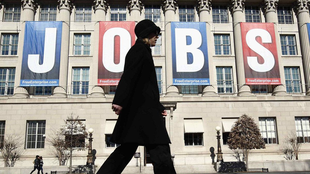 "A ""Jobs"" banner at the U.S. Chamber of Commerce in Washington in February. The jobless rate will be a key factor in the upcoming U.S. presidential election."