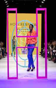 Outerwear stalwart Smythe saturated the scene with a rainbow mix of bold-coloured blazers and jackets that were playfully styled with equally vibrant satin lounge pants and bandage bras.