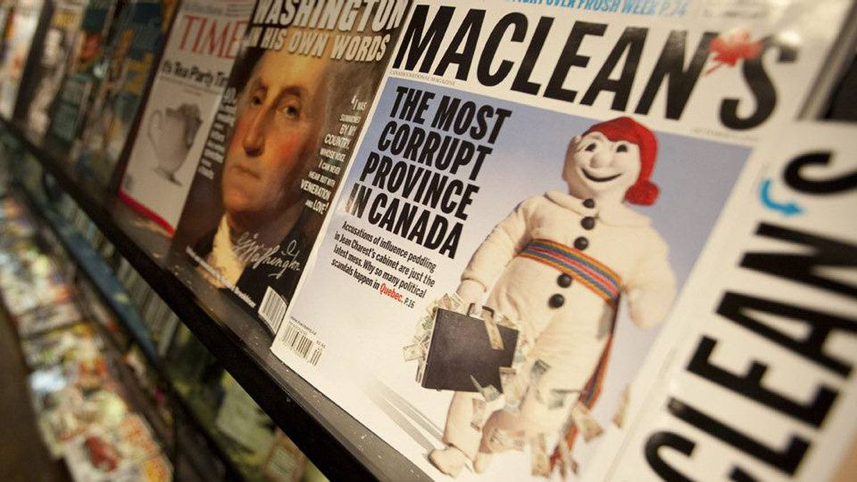 A controversial edition of Maclean's magazine is seen at a news stand in North Vancouver on Sept. 24, 2010.