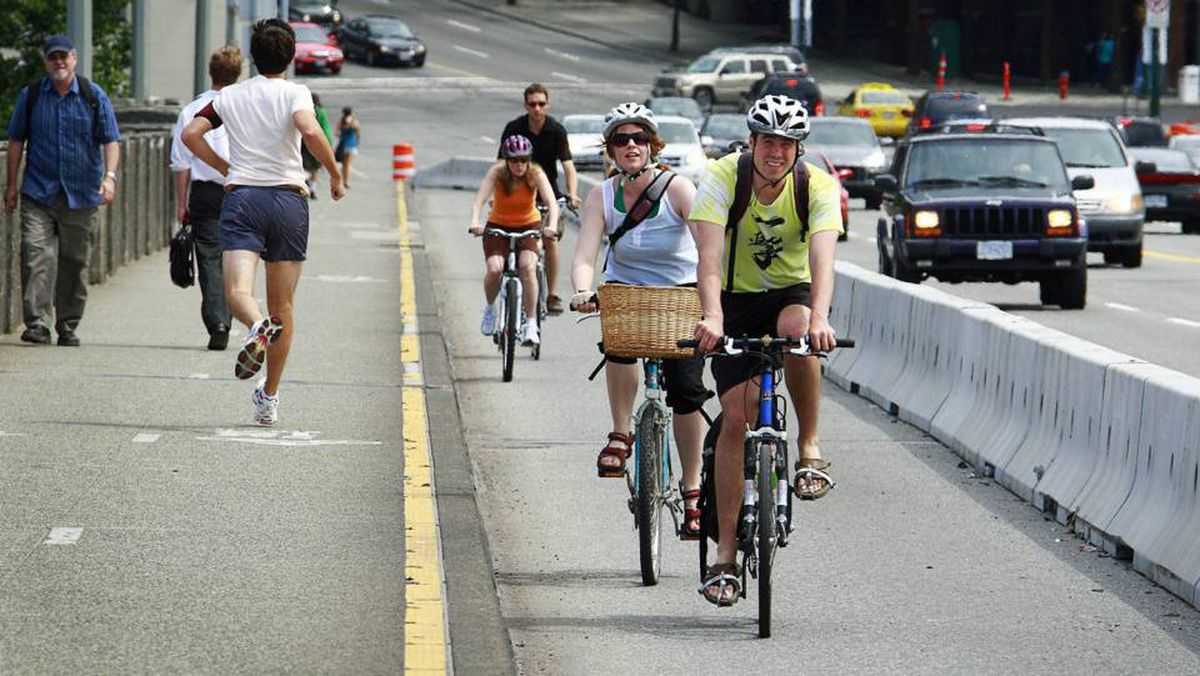 About 6,000 bicycle trips are made each day on Vancouver's Burrard Street Bridge.