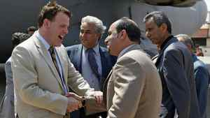 Foreign Affairs Minister John Baird arrives in Benghazi, Libya, on June 27, 2011.