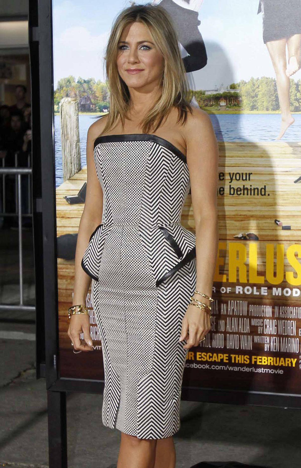 "Jennifer Aniston attends the premiere of ""Wanderlust"" in Los Angeles last week wearing something from Sears' new ""1950s Screen Test"" line of women's clothing."