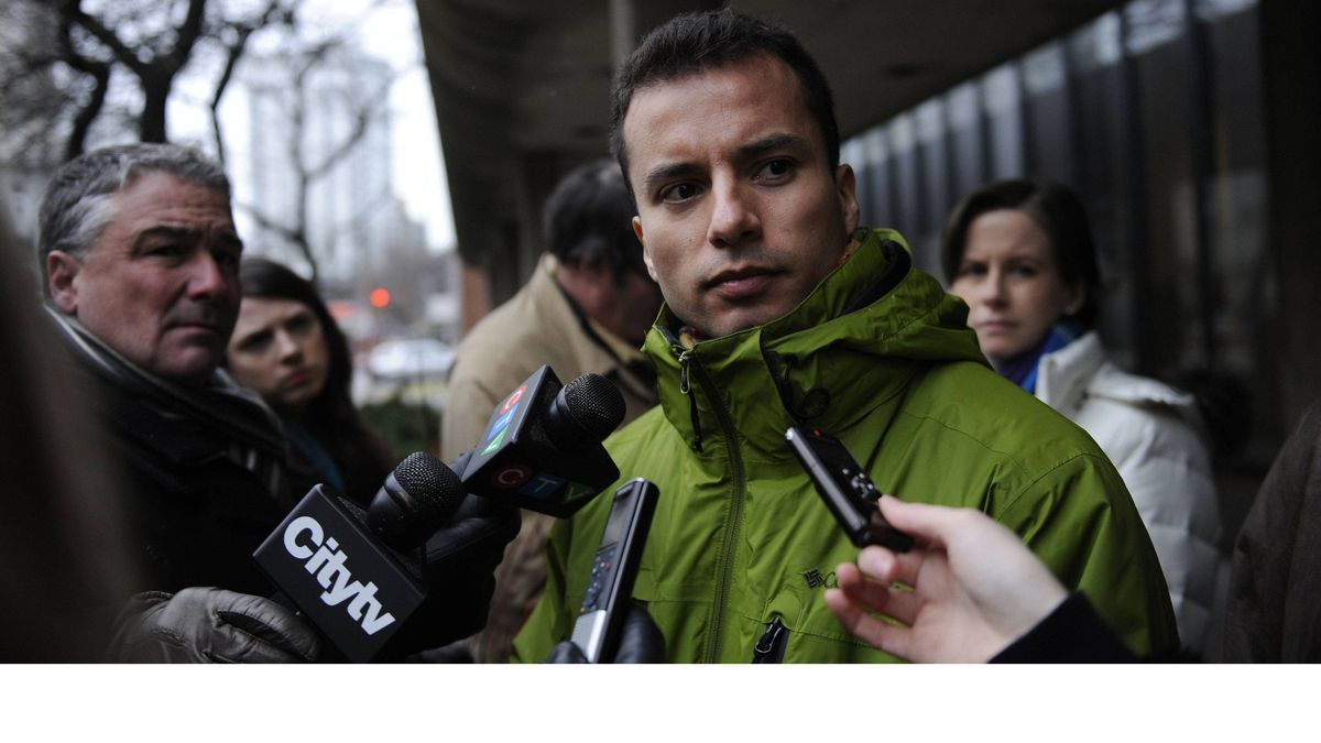 Alejandro Martinez-Ramirez is photographed outside Coroners Court on January 24 2012. An inquest into the death of his partner James Hearst who died following a collapse at his Toronto apartment, began on Jan 24 2012. Hearst died as a result of a delay in the ambulance's response time on June 25, 2009 when Hearst suffered a heart attack and died in the lobby of his building.