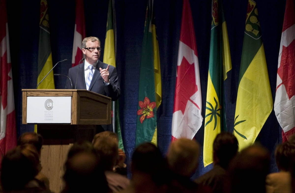 Saskatchewan Premier Brad Wall speaks during a lunch break of the Regina and District Chamber of Commerce meeting on Thursday