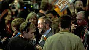 Quebec MP Thomas Mulcair makes his way to the stage at the NDP leadership convention in Toronto on March 23, 2012.