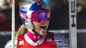 Lindsey Vonn of the U.S. reacts to her first place during alpine skiing at the women's World Super G in Lake Louise, Alberta December 5, 2010. REUTERS/Andy Clark