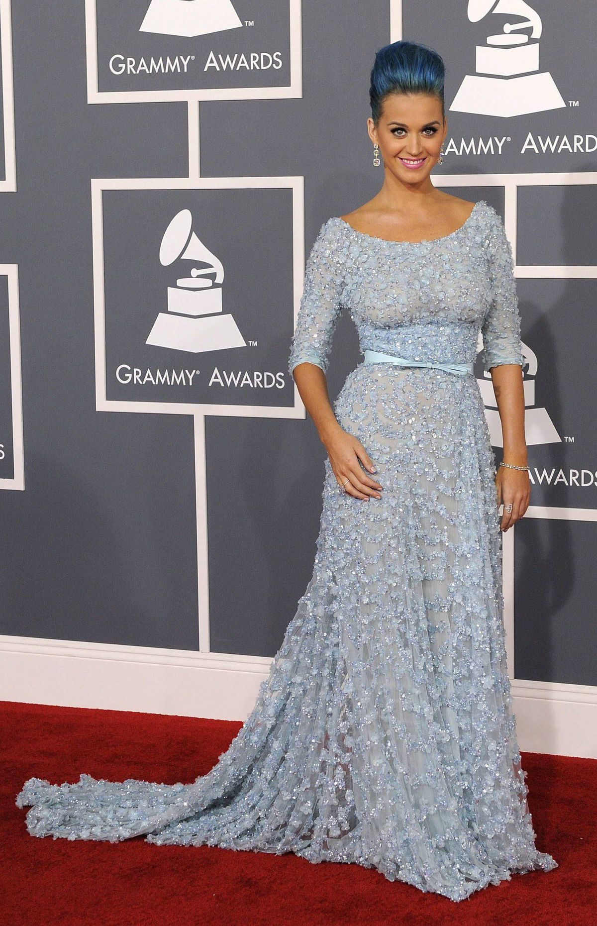 Katy Perry arrives at the 54th annual Grammy Awards on Sunday, Feb. 12, 2012 in Los Angeles.