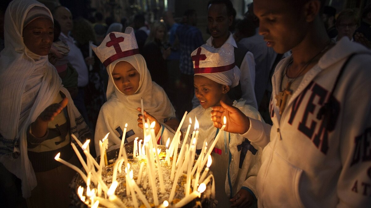 Christians visit the Church of the Holy Sepulchre during Easter weekend celebrations in Jerusalem's Old City on Saturday.