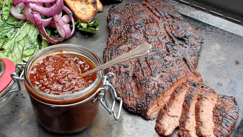Muskoka flank steak with Waverman home barbecue sauce