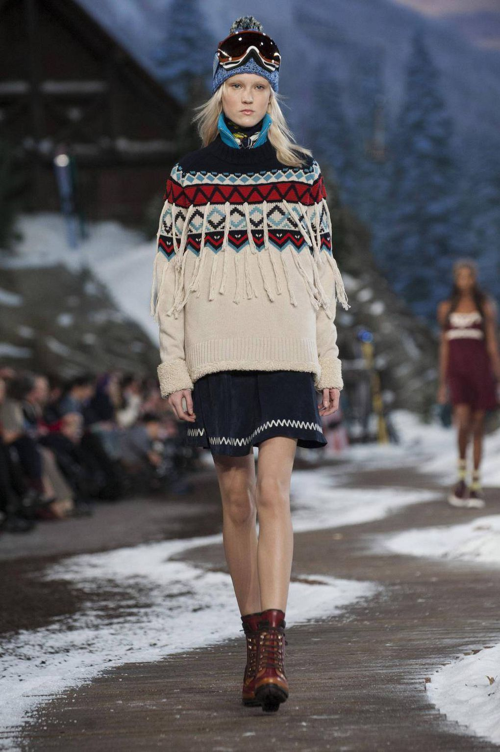 61e2c45dda ... home his collection s après-ski theme by staging his show on an  elaborate set that included a chairlift and a chalet. He also updated Nordic-style  knits ...