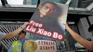 Protesters demonstrate outside the Chinese Foreign Ministry in Hong Kong on Oct. 8, 2010, demanding the release of jailed Chinese pro-democracy activist Liu Xiaobo.