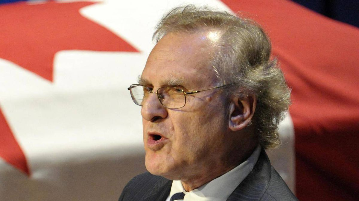 Stephen Lewis delivers the eulogy during the state funeral for NDP Opposition Leader Jack Layton in Toronto Aug. 27, 2011.