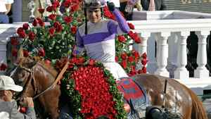 Jockey Mario Gutierrez reacts after riding I'll Have Another to victory in the 138th Kentucky Derby horse race at Churchill Downs Saturday, May 5, 2012, in Louisville, Ky. (AP Photo/Michael Conroy)