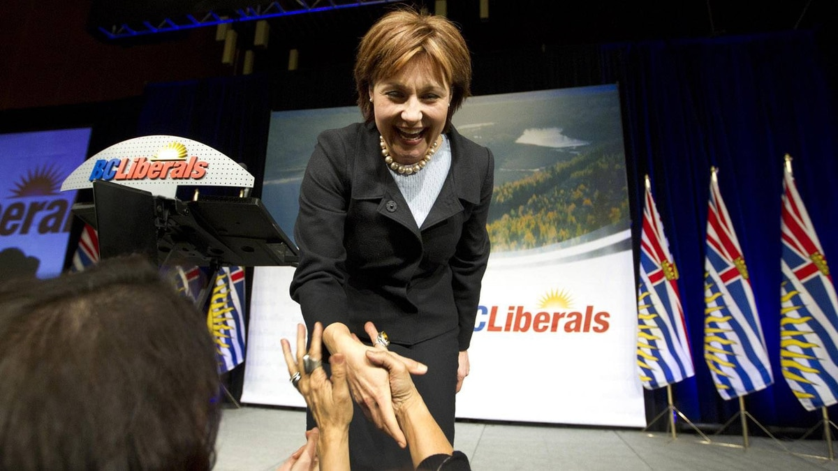 Premier designate Christy Clark greets the crowed at a the B.C. Liberal Convention in Vancouver after winning the Liberal Leadership election, February 26, 2011.