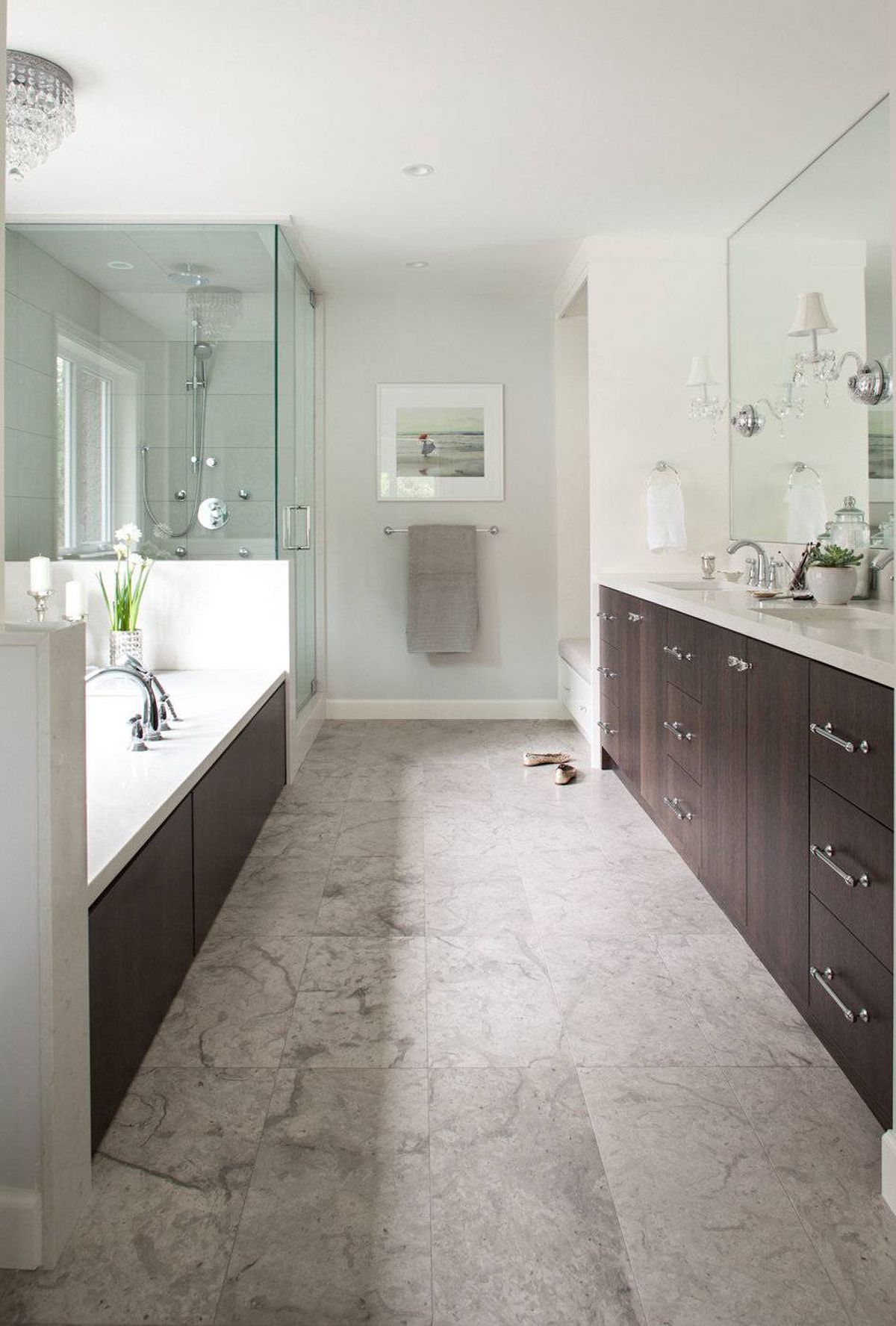 Master bathroom designed by Kelly Deck Design. The biggest challenge was dealing with this room's bowling-alley dimensions; 16 feet long and nine feet wide.