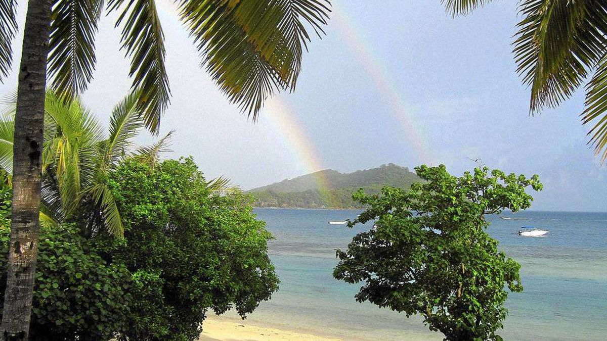 A double rainbow appears after a brief rain in the Yasawa Islands.