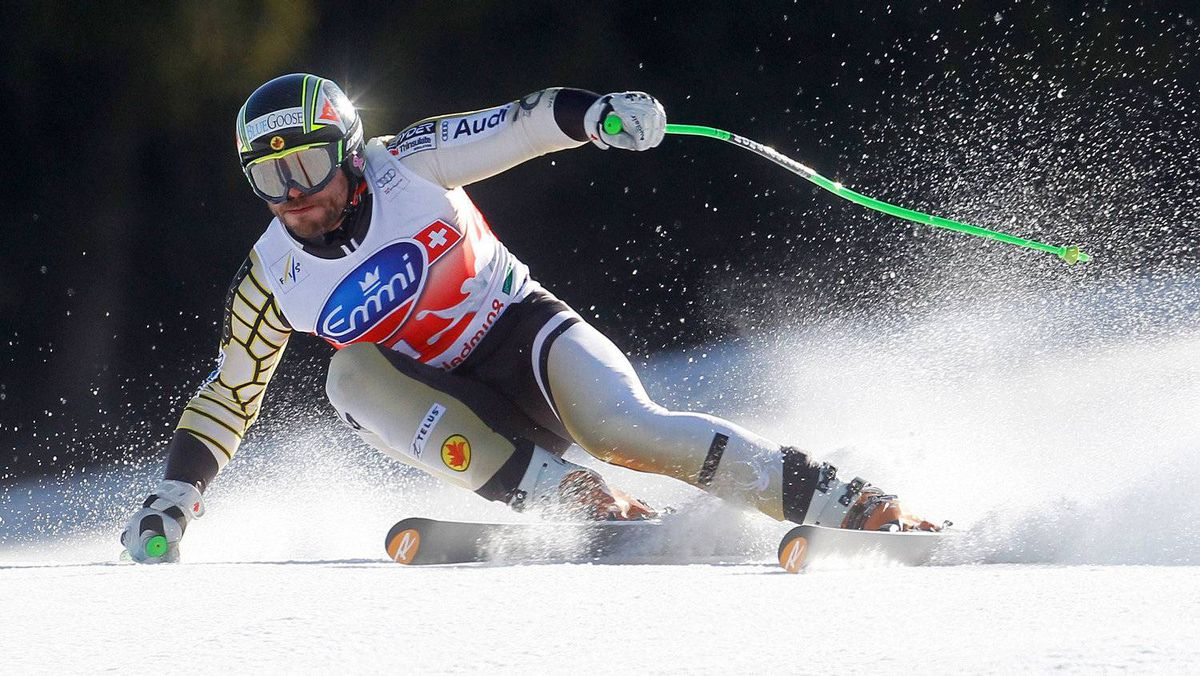 Jan Hudec of Canada speeds down the slope during the men's Alpine Skiing World Cup Super G race in Schladming March 15, 2012.