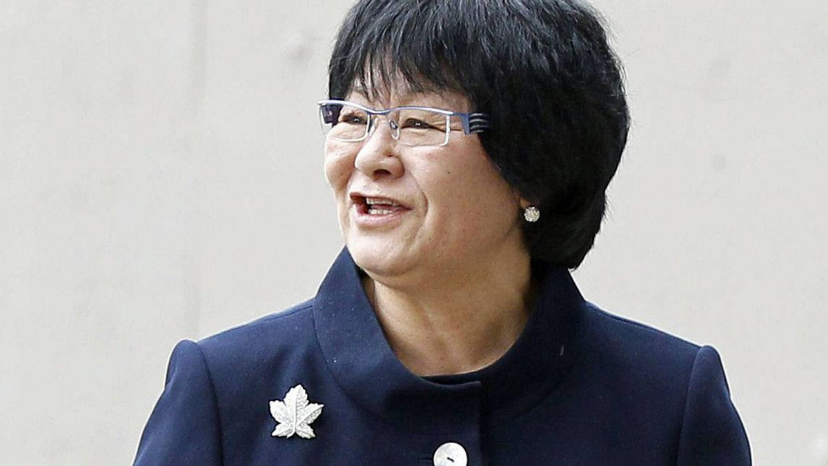 Bev Oda arrives to be sworn as International Co-operation Minister at Rideau Hall in Ottawa on May 18, 2011.