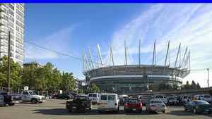A parking lot adjacent to the redesigned BC Place stadium in Septemebr, 2011. A trio of giant digital signs put up at BC Place have sparked complaints since last fall from dozens of downtown residents.