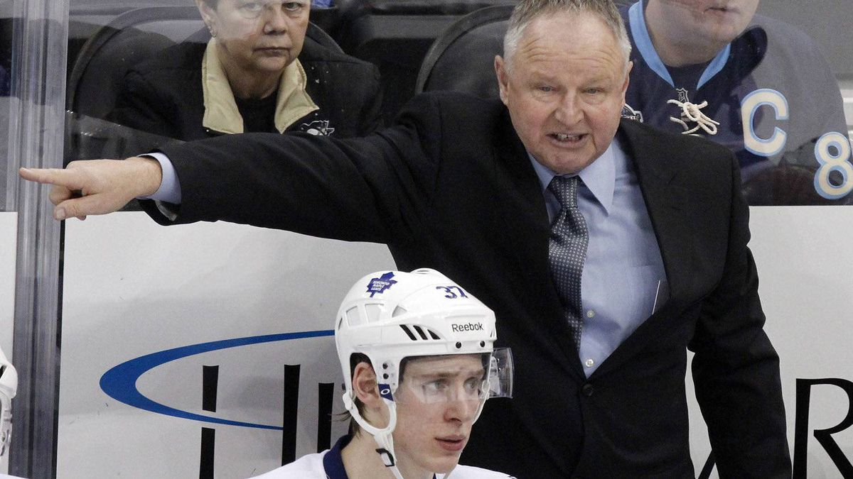 nto Maple Leafs coach Randy Carlyle gives instructions behind Carter Ashton (37) during the third period of an NHL hockey game against the Pittsburgh Penguins in Pittsburgh on Wednesday, March 7, 2012. The Penguins won 3-2. (AP Photo/Gene J. Puskar)