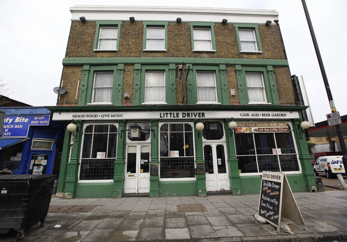 The Little Driver pub is seen in east Londo. The pub gained its name as it began life as the waiting room for what was once Bow Road train station.