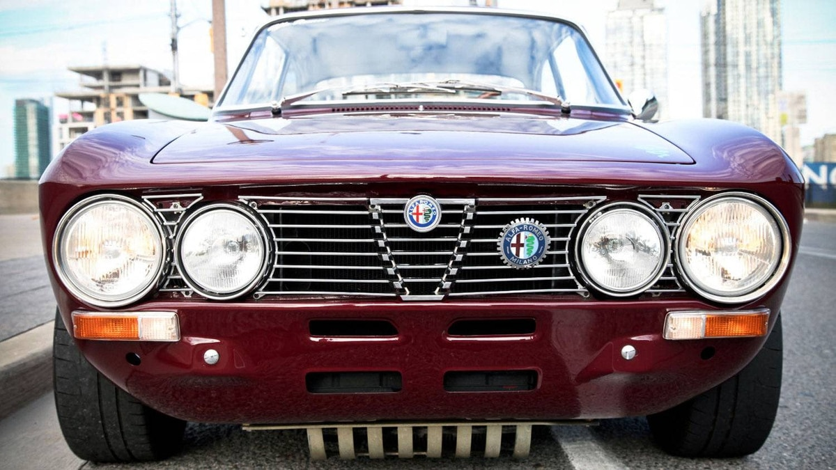 A view of the Alfa Romeo from the front. Toronto restaurateur David Minicucci purchased the car three years ago for $15,000 and has since spent $60,000 and countless hours rebuilding it.
