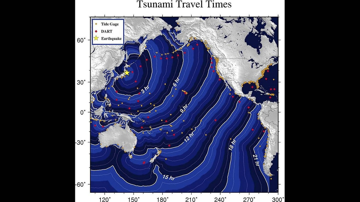 This graphic provided by the National Oceanic and Atmospheric Administration (NOAA) shows estimated tsunami travel times following a massive 8.9-magnitude earthquake hit Japan on March 11, 2011. The quake unleashed a monster 10-metre high tsunami that sent ships crashing into the shore and carried cars through the streets of coastal towns in Japan. The massive quake triggered a tsunami warning for virtually the entire Pacific Ocean, reaching as far as Australia, South America and Antarctica. However local officials in Australia subsequently ruled that the Tsunami posed no threat there.
