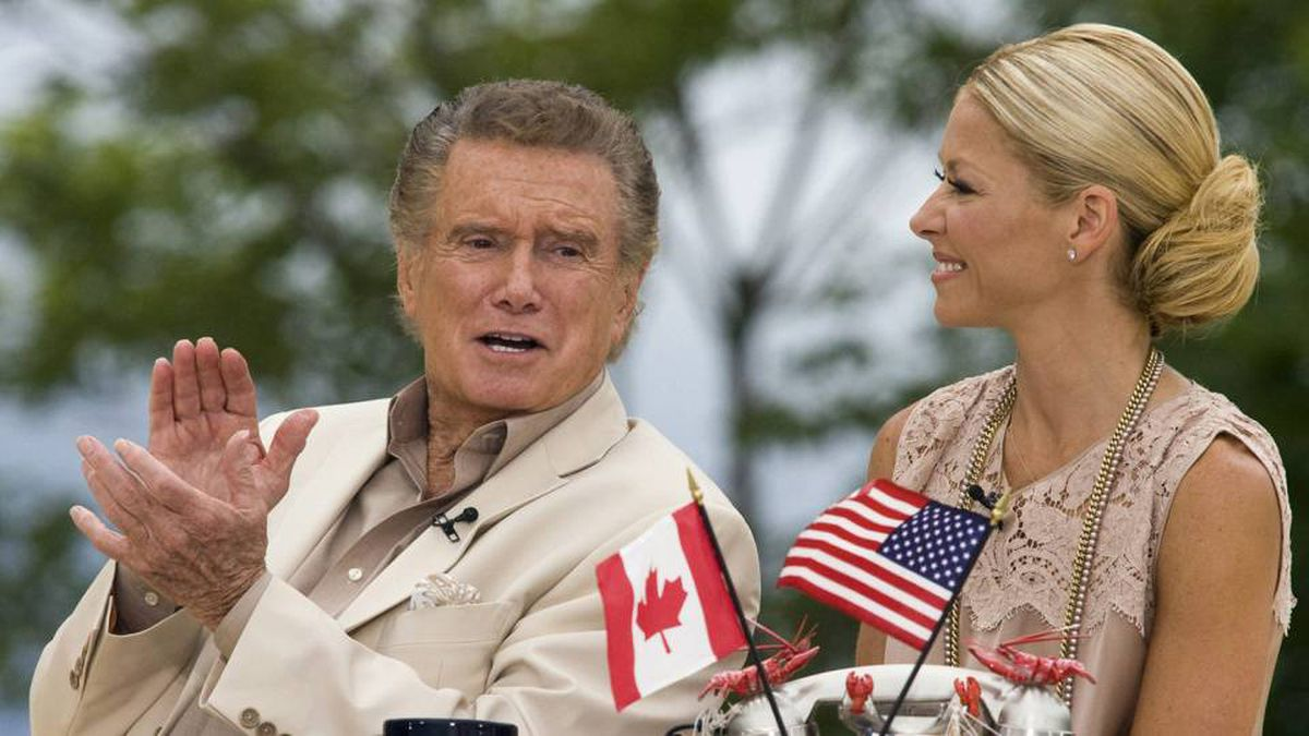 """Regis Philbin and Kelly Ripa of """"Live! with Regis and Kelly"""" broadcast their show on the waterfront in Charlottetown, Prince Edward Island on Monday, July 12, 2010."""