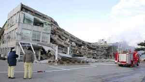 A factory building has collapsed in Sukagawa city, Fukushima prefecture, in northern Japan on March 11, 2011.