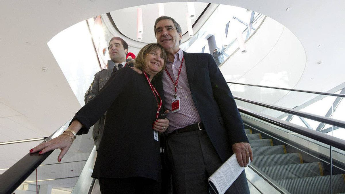 Former Liberal Party Leader Michael Ignatieff, and his wife, Zsuzsanna Zsohar arrive on day two of the Liberal Convention in Ottawa.